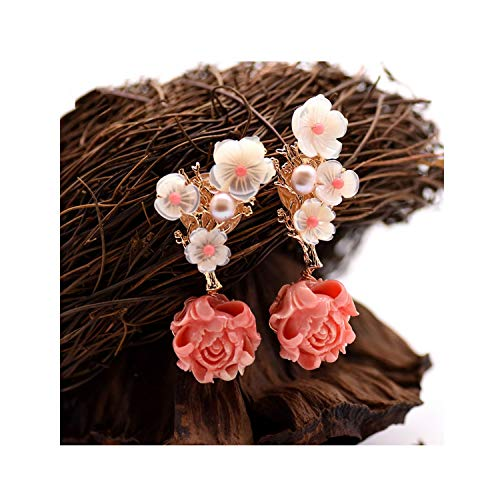 (925 Silver Pink Coral Drop Earrings White Pearl Pink Natural Stone Shell Flower Dangle Earrings,style)