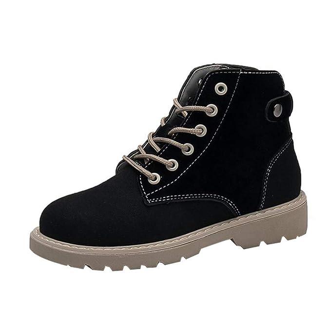 Mymyguoe Zapatos de Invierno Mujer,Mujeres Planas Botines Cortos con Cordones Moto Zapatos Militares Movimiento