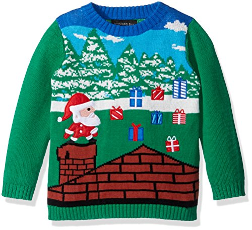 Blizzard Bay Boys' Santa Video Game Sweater, Blue, Green Combo, 6 (Kids Ugly Christmas Sweater)