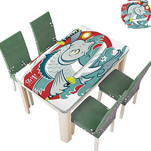 - Printsonne Polyester Fabric Tablecloth Koi Samurai Two Swords Red Background ial Animal Fighter Green White Suitable for Home use 54 x 120 Inch (Elastic Edge)