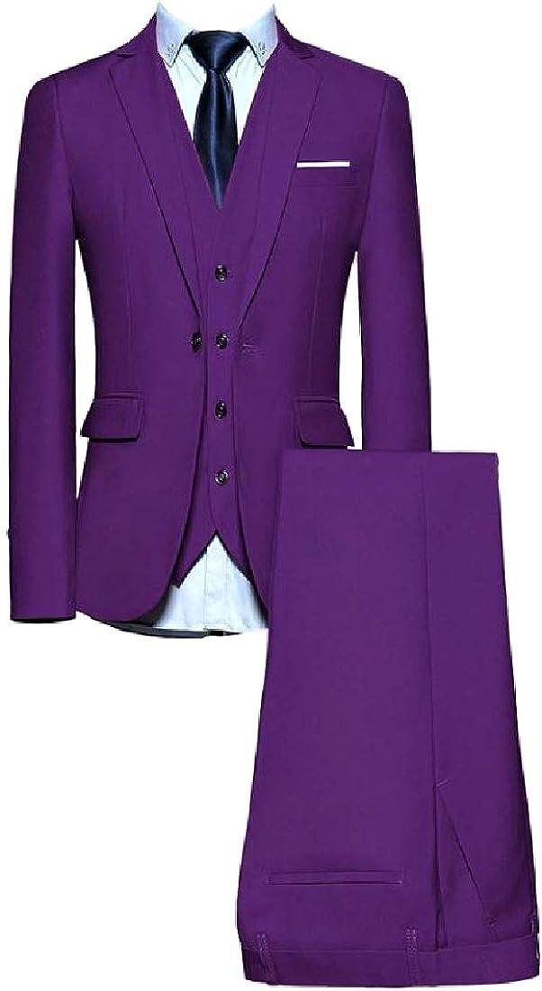 Losait Mens Slim Fit Dress Suit Tux Vest Plain-Front Pant 3 Piece