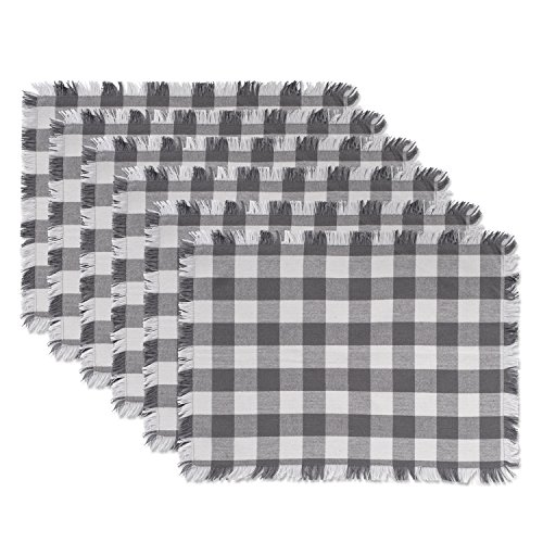 DII CAMZ37569 Heavyweight Fringed MT Check S/6 Placemats Checkered Gray 6 Piece