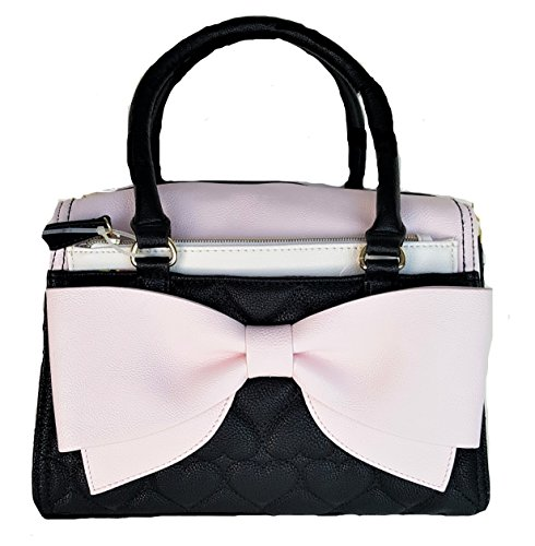 Betsey Johnson POUCH BOW SATCHEL BLUSH/BLACK Bow Satchel