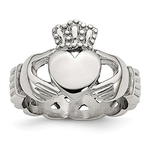 Size 13 - Stainless Steel Polished Braided Claddagh Ring (6mm)