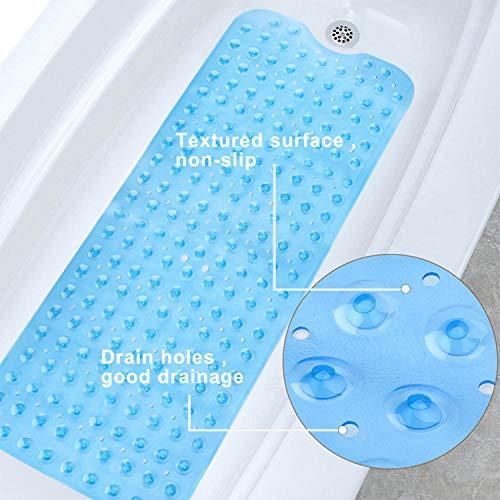 MEMX Bath, Shower, Tub Mat, 40x16, Machine Washable, BPA Free, Phthalate Free, Latex, Bathtub Mats with Drain Holes, Suction Cups, Non-Slip Bathroom Mats, Blue.
