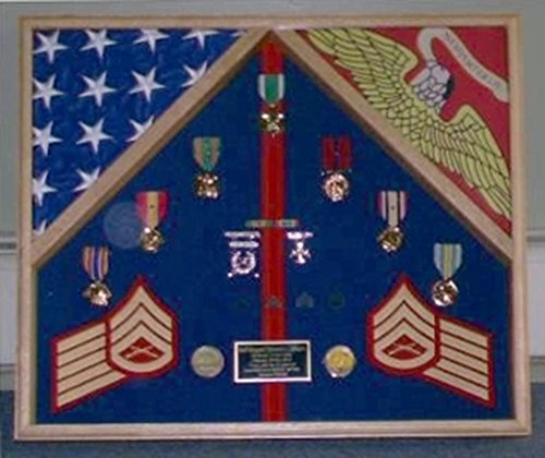 Marine Corps 2 Flag Shadow Box