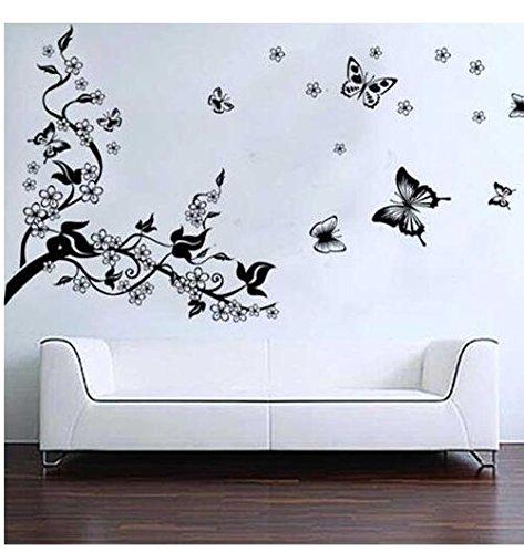 CDKJ BestOfferBuy Romantici Stickers da Muro in 3D con Decalcomania di Un Albero con Farfalle