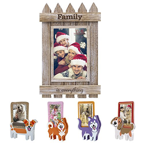 Family Photos Christmas - Valery Madelyn Xmas Family Gathering Picture Frame 4x6 Rustic Distressed Wood Shabby Chic Photo Frames for Kids, Wall Hanging Table Decor