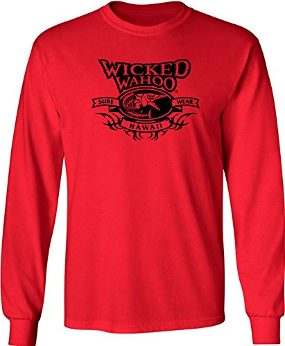 00f7e8481 Joe's USA Koloa Wicked Wahoo surfwear Logo Long Sleeve Cotton T-Shirt-Red/b-XL  - Buy Online in Oman. | Apparel Products in Oman - See Prices, ...