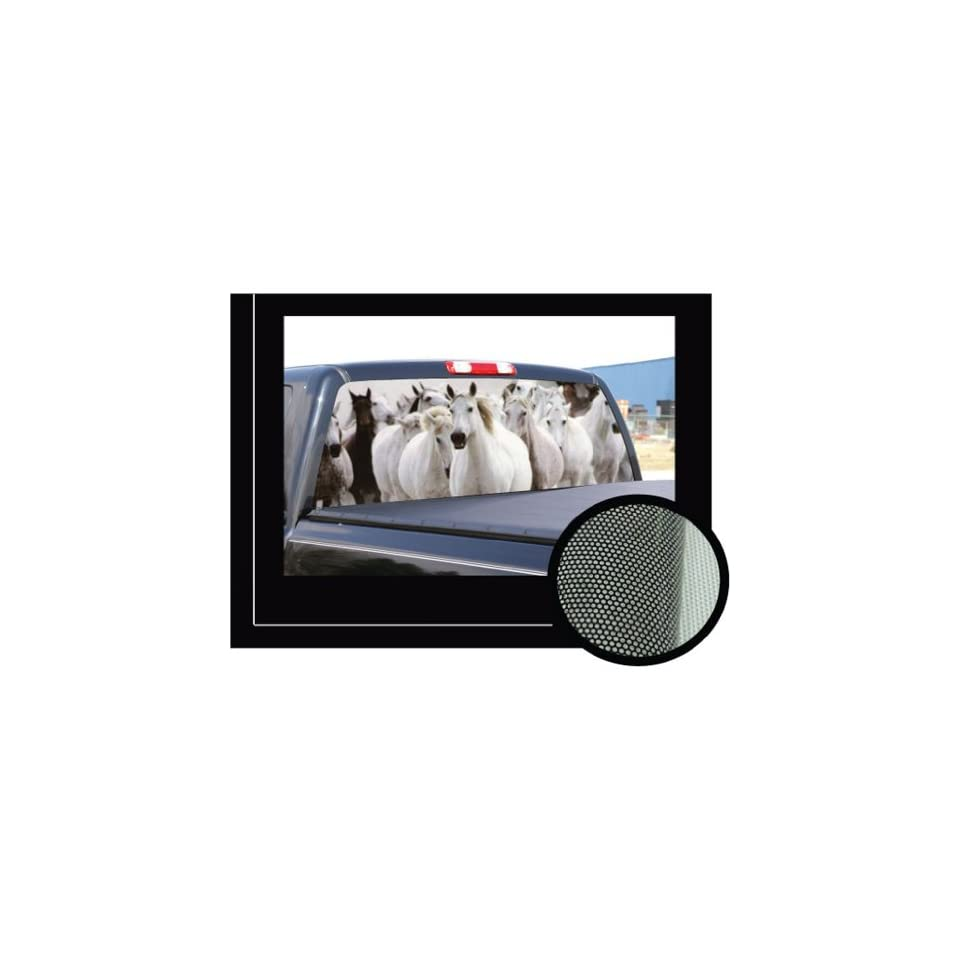 HORSES  16x54   Rear Window Graphic   compact pickup truck horse scene tint view thru vinyl