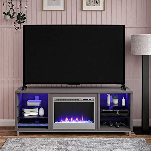 rustic tv stand with fireplace