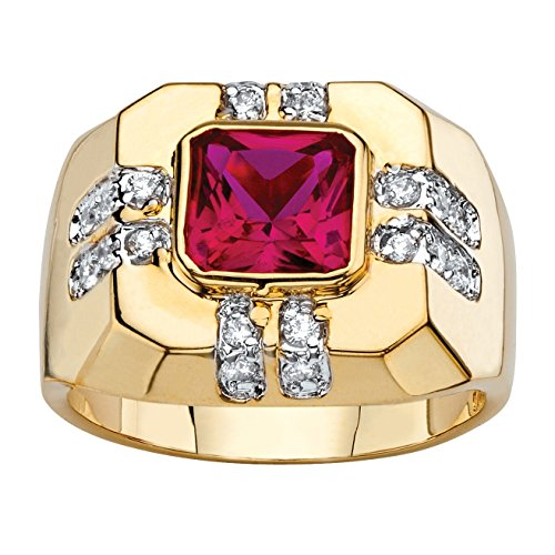 Palm Beach Jewelry Men's Square-Cut Simulated Red Ruby and CZ 14k Gold-Plated Octagon Ring Size 8
