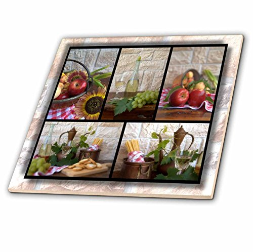 3dRose Wine and Fruit Collage - Ceramic Tile, 12-Inch (ct_28849_4)