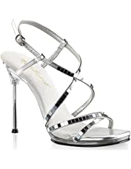 Summitfashions Women Reflective Silver Mirror Heels with 4.5 Silver Chrome Heels Dress Shoes