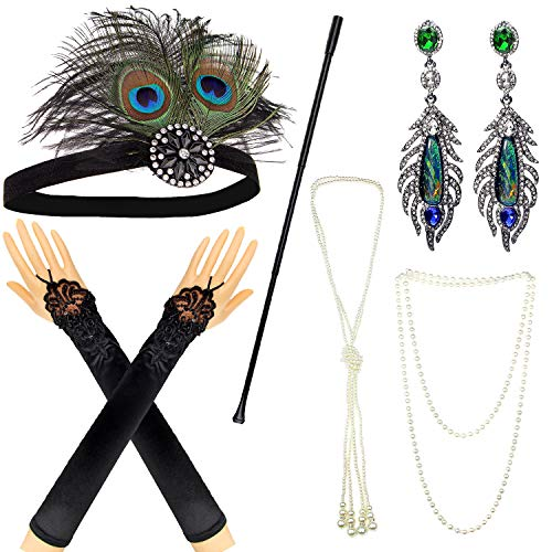 IETANG 1920s Accessories Themed Costume Mardi Gras Party Prop additions to Flapper Dress (A-5)]()