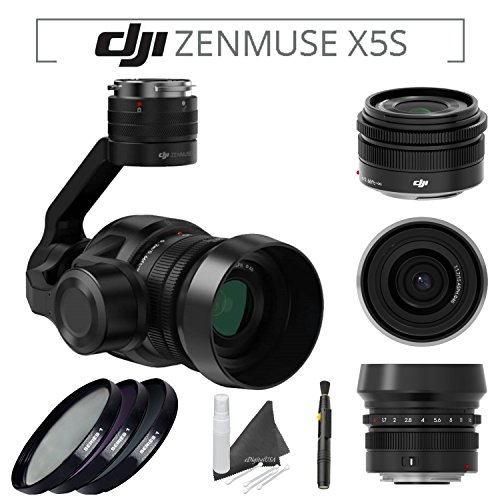 DJI Zenmuse X5S Camera and Gimbal with DJI MFT 15mm,F/1.7 ASPH Prime Lens for DJI Inspire 2 Quadcopter & PolarPro Filter Kit (UV,CPL,ND8 3-Stop) & Lens Pen & eDigitalUSA Microfiber Cleaning Cloth by DJI