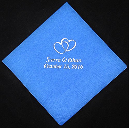 Personalized Party Napkins (Lot Od 100 Beverage Napkins Wedding Napkins Custom Napkins Party)