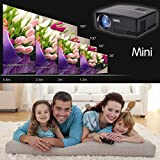 "ohderii Projector, LED Lumens 1800ANSI Luminous efficiency 180"" LED Mini Home Projector for Outdoor Indoor Movie, Home Theater (Black)"
