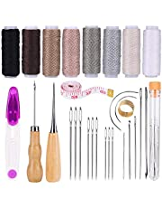 Sewing Upholstery Repair Kit, Leather Sewing Repair Kit with Sewing Thread, Large-Eye Stitching Needles, Awl, Leather Hand Sewing Needles, Leather Craft Tool Kit for Leather Repair, Stitching, Sewing
