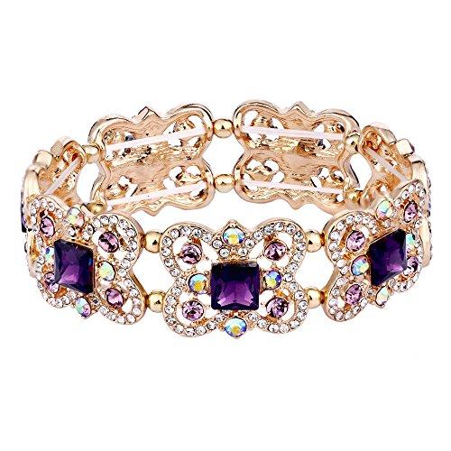 EVER FAITH Austrian Crystal Art Deco Butterfly Bridal Elastic Stretch Bracelet Purple Gold-Tone ()