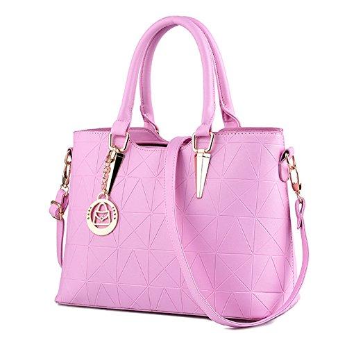 LIZHIGU Womens Leather Shoulder Bag Tote Purse Fashion Top Handle Satchel Handbags Pink