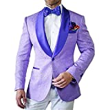 GEORGE BRIDE Party Jacket for Men Stylish Blazer Floral Party Dress Suit,XL,Lilac