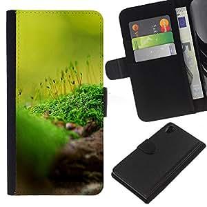 JackGot ( Natura Bella Forrest Verde 85 ) Sony Xperia Z2 D6502 la tarjeta de Crédito Slots PU Funda de cuero Monedero caso cubierta de piel