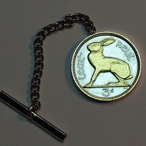 Irish  Rabbit, Gorgeously 2-Toned (Uniquely Hand done) Gold on Silver coin - Tie or Hat tack pins, tacky, for men him, Boys, women, skinny