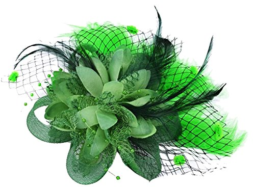 Feather Fascinator Clip Wedding Headdress Women Party Headpiece with Brooch Pin (Green Hat Pin)