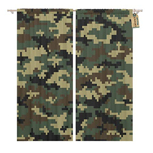 Golee Window Curtain Khaki Digital Camouflage Pattern Camo Army Abstract Blend Color Home Decor Rod Pocket Drapes 2 Panels Curtain 104 x 63 inches