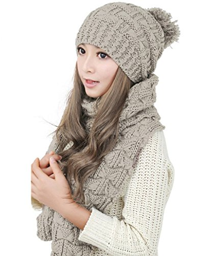 Women Girls Knitted Hat Scarf Set Fashion Winter Warm Hat With Attached Scarf ... (Khaki)