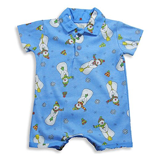 (Pepper Toes Layette by Baby Lulu - Baby Boys Short Sleeve Snowman Romper, Blue 16987-3Months)
