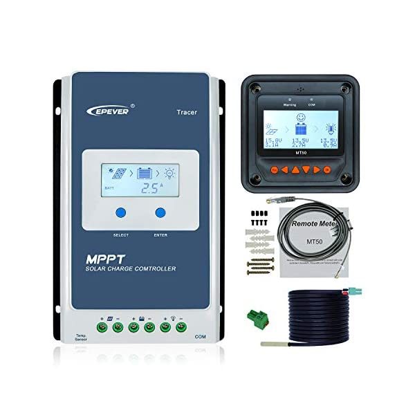 Renogy Commander 40 Amp 12V//24V MPPT Negative Ground Solar Charge Controller Regulator Compatible with Sealed Lead-Acid Flooded Gel Batteries and MT-50 Tracer Meter