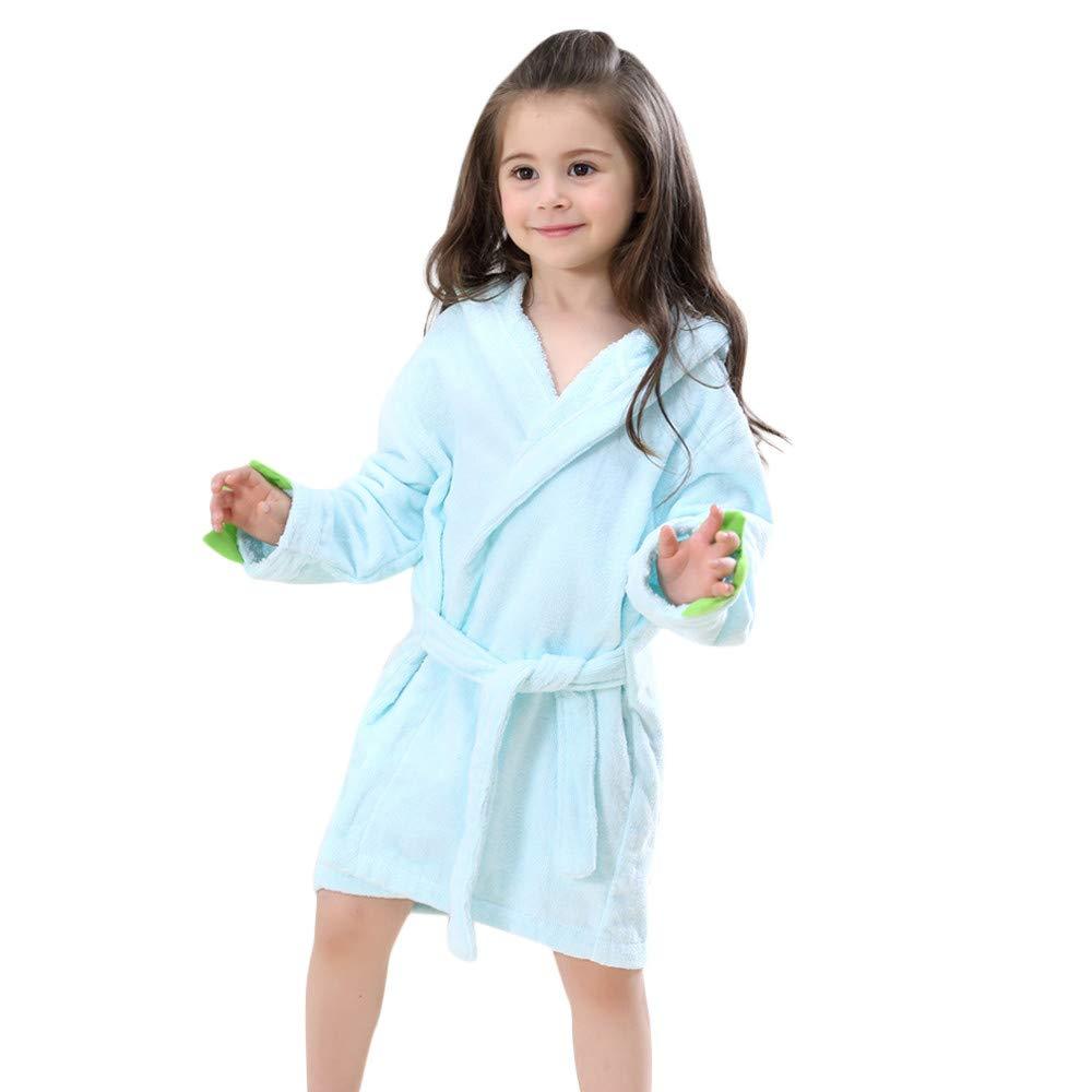 Zimuuy Baby Girls Kids Long Sleeve Bathrobe Cartoon Dinosaur Hooded Towel Pajamas Clothes