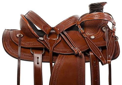 AceRugs Premium Western Leather Roping Ranch Work Tooled Horse Saddle TACK Set Cowhide ()