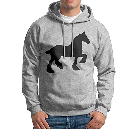 FDLB Mens Draft Horse Silhouette Jogging Fashion Hoodie Hoodies XXL Ash