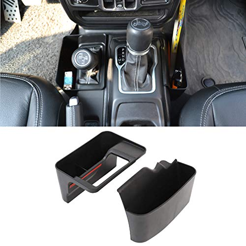 EDOU GearTray Gear Shifter Console Side Storage Box Manual Transmission Side Organizer Tray for 2018 2019 Jeep Wrangler JL JLU, Interior Accessories, Black