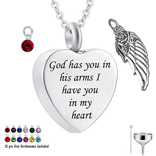 Designer Heart Bag - God has You in his arms with Angel Wing Charm Cremation Ashes Jewelry Keepsake Memorial Urn Necklace with Birthstone Crystal (God+Angel Wing&12 Pcs Birthstone)