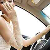 Nappaglo Women's Long Lace Sunscreen Gloves Vintage Floral for Summer UV Protection Wedding Party Driving (Creamy-yellow)