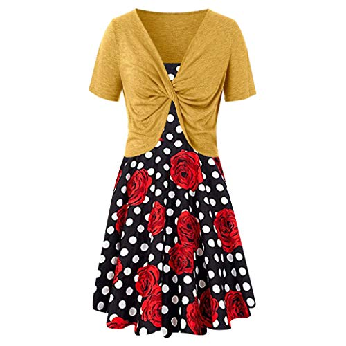 - Zackate Womens Short Blouse Dress Sets Two Pieces Cropped Top Floral Polka Dot Boho Sundress Set Strap Dresses Yellow
