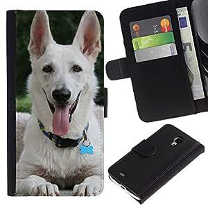 White Shepherd Dog Panting Tongue - la tarjeta de Crédito Slots PU Funda de cuero Monedero caso cubierta de piel Samsung Galaxy S4 Mini i9190