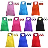iROLEWIN Superheros Capes & Masks for Kids Costumes Dress Up Party Games (Set of 10)