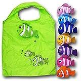 Anseahawk 10pcs Fish Shopping Bags Colorful Foldable Bag Handle Bag Bags Reusable Eco Tote Bags (Rndom Color Sent)