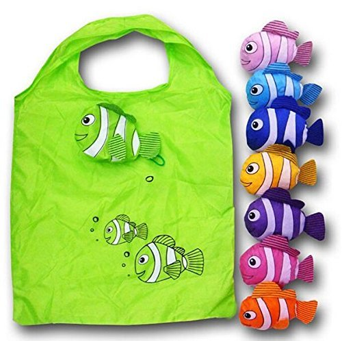Aiduy 10pcs Fish Shopping Bags Colorful Foldable Bag Handle Bag Bags Reusable Eco Tote Bags (Random Color Sent)