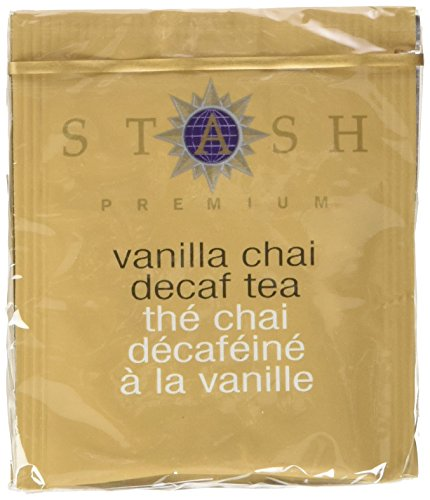 - Stash Tea Decaf Vanilla Chai Black Tea 10 Count Tea Bags in Foil (Pack of 12) (packaging may vary) Individual Decaffeinated Black Tea Bags for Use in Teapots Mugs or Cups, Brew Hot Tea or Iced Tea