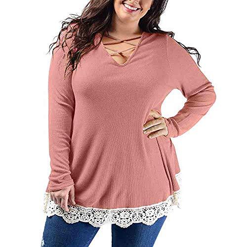 Blusa de Mujer en Oferta,Blusa de Mujer Elegante Mujeres con Cuello en V de Gran tamaño de Encaje Patchwork Solid Blusa Casual Tops Camiseta Blusa de Moda ...