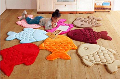 Hughapy Slow Rebound Memory Foam Children Bath Rug Christmas Fish Slip Resistant Coral Fleece Mat Doormat Carpet (Orange) by Hughapy (Image #5)