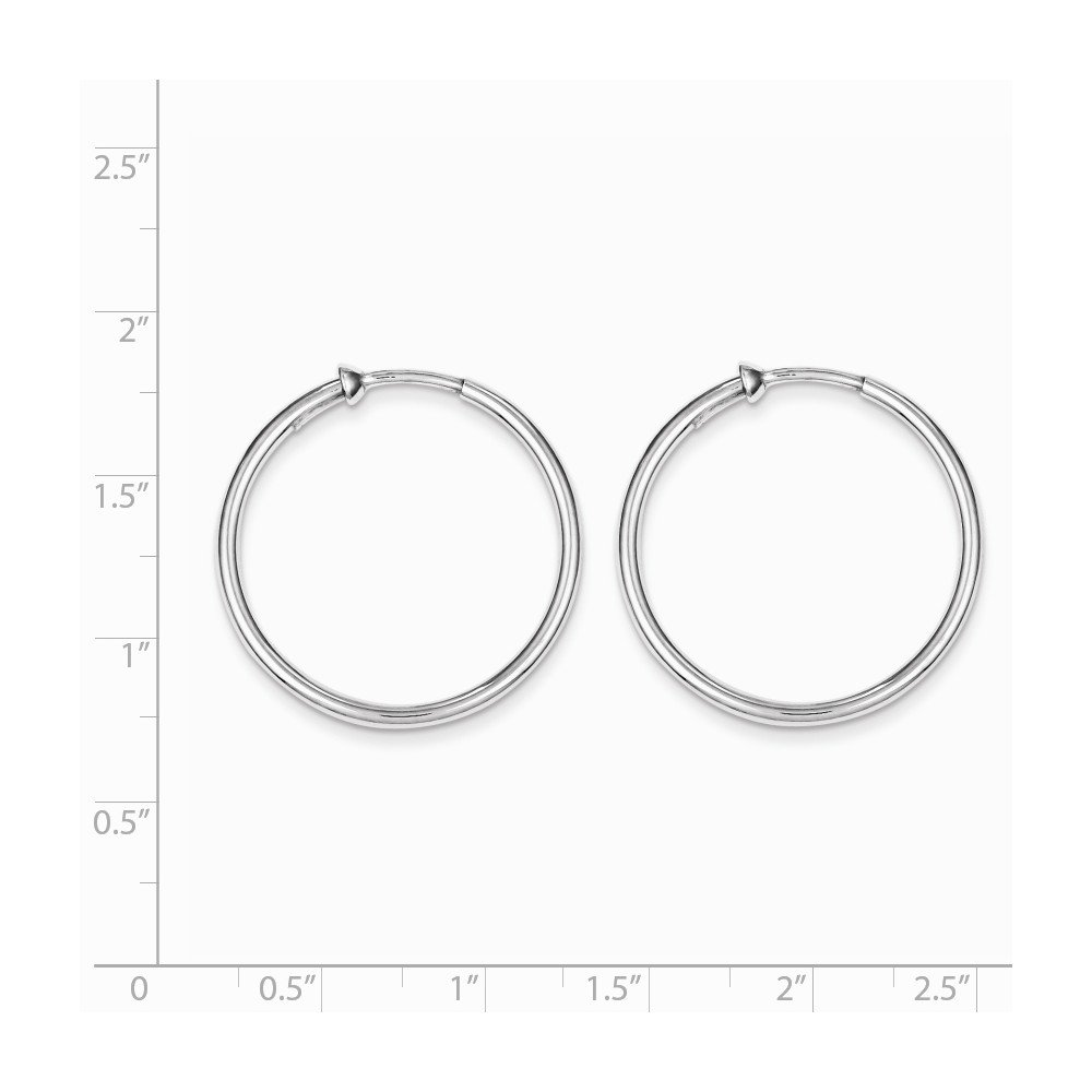 1a367e2811cb5 Sterling Silver Rhodium Polished Non Pierced Clip On Hoop Earrings Length  28mm
