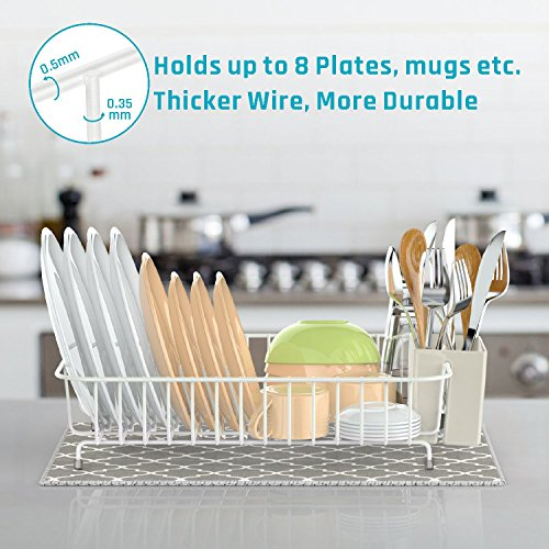 Dish Drying Rack, iSPECLE Dish Drainer with Utensil Holder, Microfiber Dish Drying Mat with Dish Rack Wire for Kitchen Counter Top, White Color Poblished Anti Rust Dish Holder, 13.8 x 10.6 x 3.5inch
