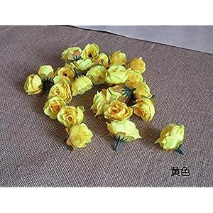 XGM GOU 100Pcs/Pack Solid Colors Small Tea Rose Heads Wholesale Cream Flower Buds Artificial Silk Flowers DIY Bouquets Home Decoration 6